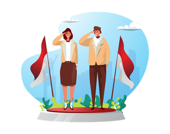 Two young Indonesian celebrating independence day Illustration