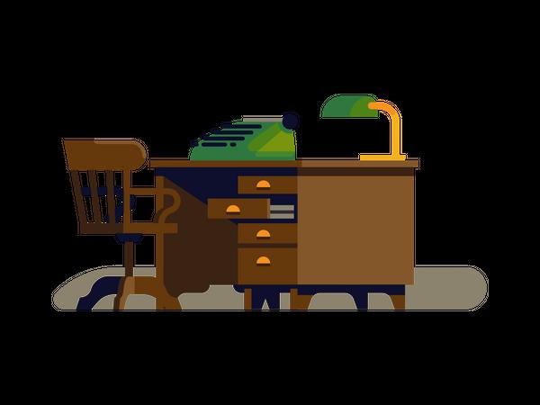 Typewriter work desk Illustration