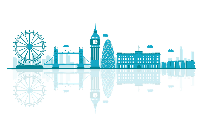 UK Skyline silhouette with reflections Illustration