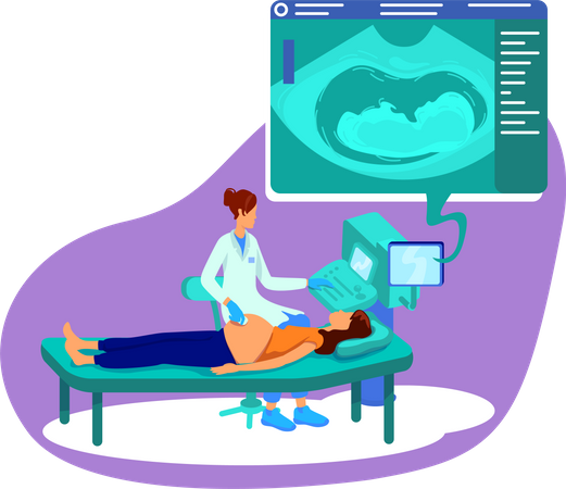 Ultrasound for pregnant woman Illustration