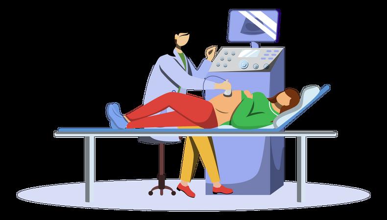 Ultrasound screening checkup of fetus Illustration