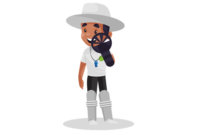 Umpire wearing forearm shield and cricket pads Illustration