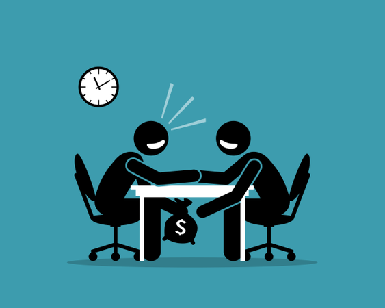 Under Table Money Illustration