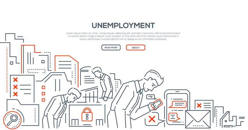 Unemployment - Modern Line Design Style Illustration Illustration