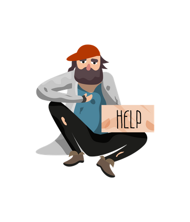 Unemployment people needing help and food Illustration
