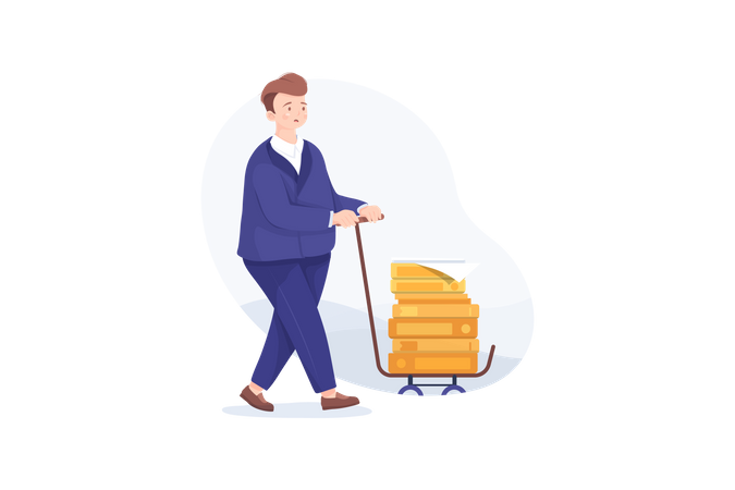 Unhappy businessman carries a pile of documents, folders, paper on a cart Illustration