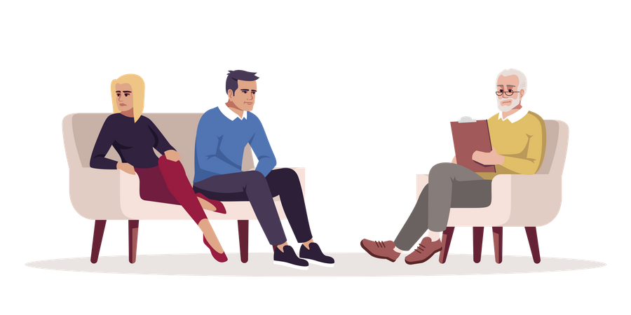 Unhappy couple consulting with specialist Illustration