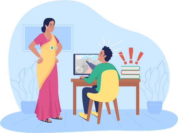 Unhappy Indian mother argue with son Illustration