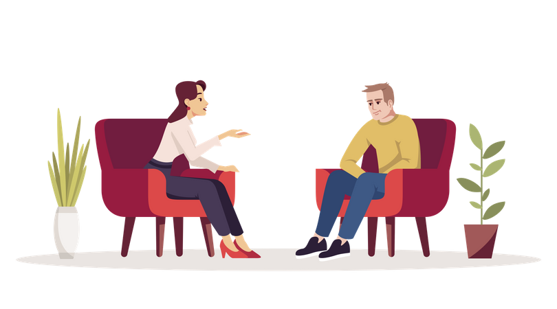 Unhappy man communicating with woman Illustration