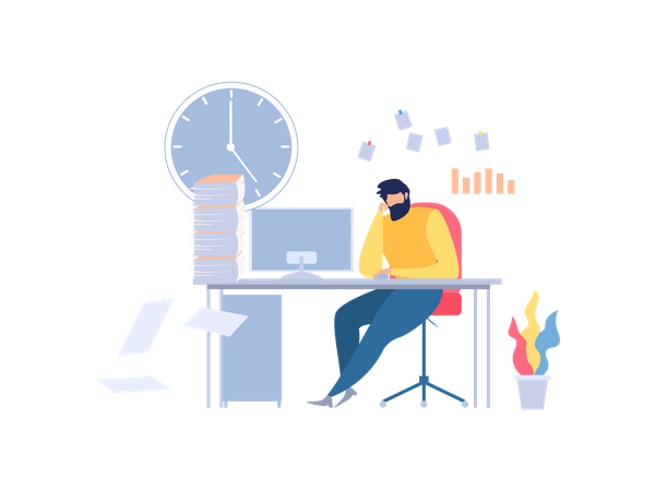 Unhappy Man Sitting On Office Table with lots of work papers Illustration