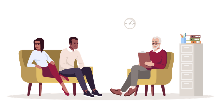 Unhappy married couple communicating with specialist Illustration