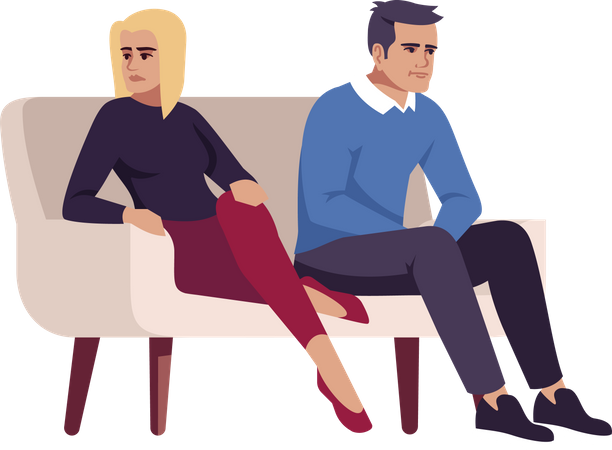 Unhappy married couple sitting on couch Illustration