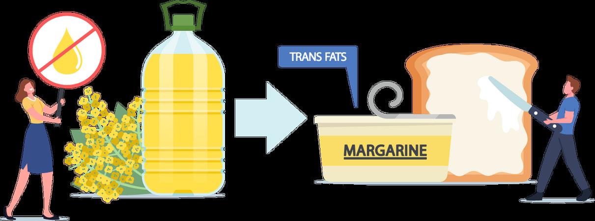 Unhealthy Trans Fats Eating Illustration
