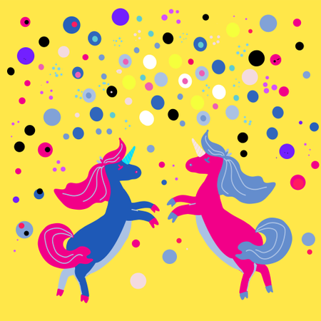 Unicorns on a floral background with a fairy forest Illustration