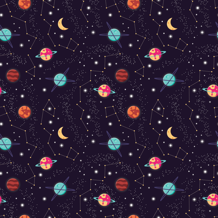 Universe with planets and stars seamless pattern, cosmos starry night sky Illustration