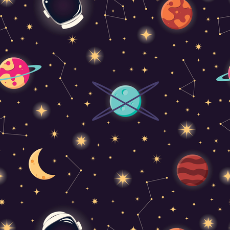 Universe with planets, stars and astronaut helmet seamless pattern, cosmos starry night sky Illustration