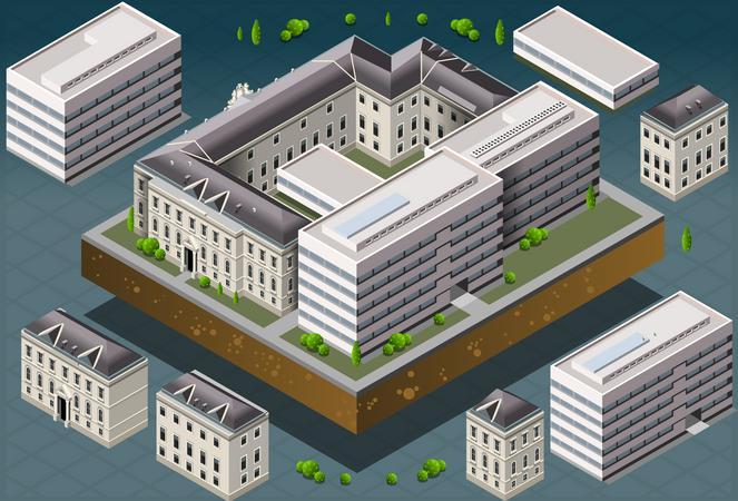 University Building Architecture Illustration