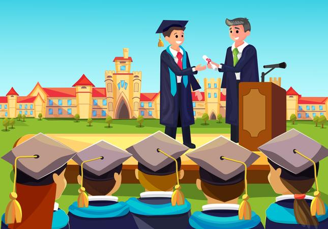 University Grand Graduate Ceremony Illustration