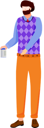 University professor with chemicals can Illustration