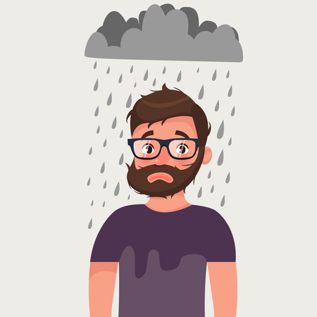Unlucky man with bad mood under rain Illustration