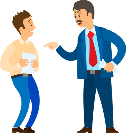 Unsatisfied Boss Claiming Worker Illustration