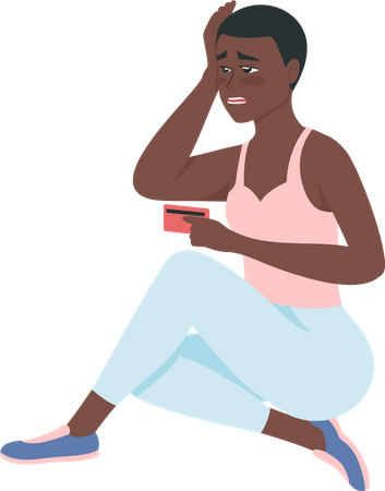 Upset african american woman with debt on credit card Illustration
