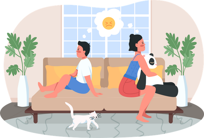 Upset siblings Illustration