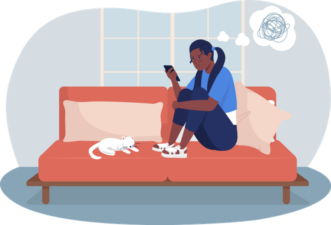 Upset teenage girl at home Illustration