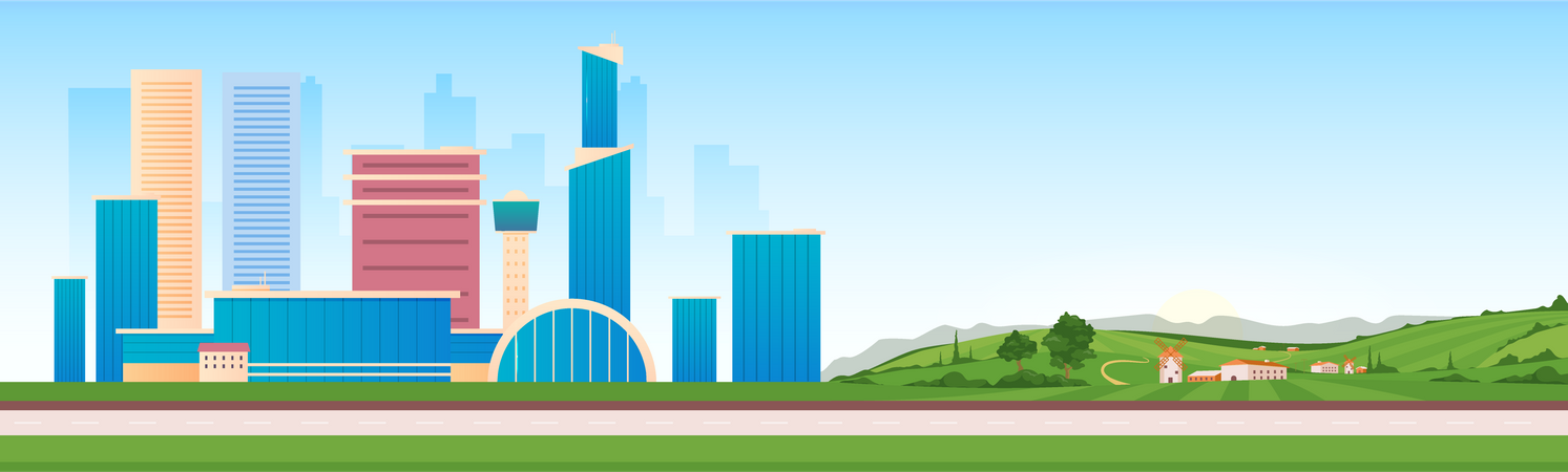 Urban And Rural Areas Illustration