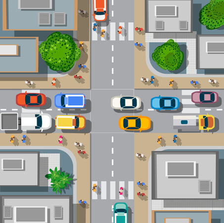 Urban crossroads with cars Illustration