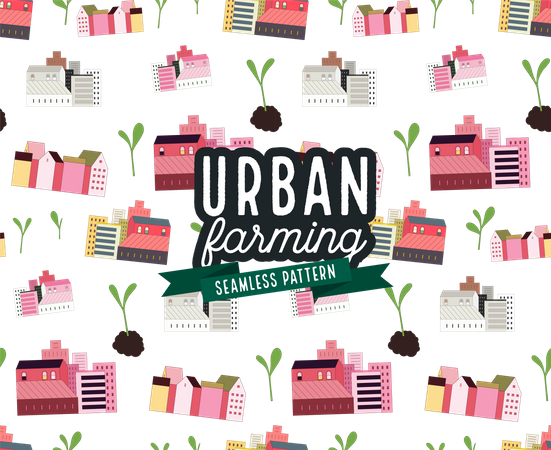 Urban farming and gardening - houses and sprouts pattern Illustration