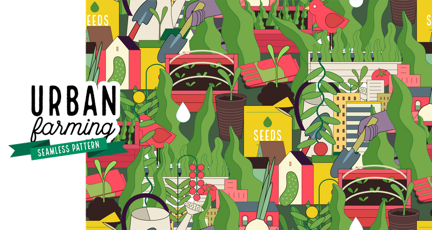 Urban farming and gardening pattern Illustration