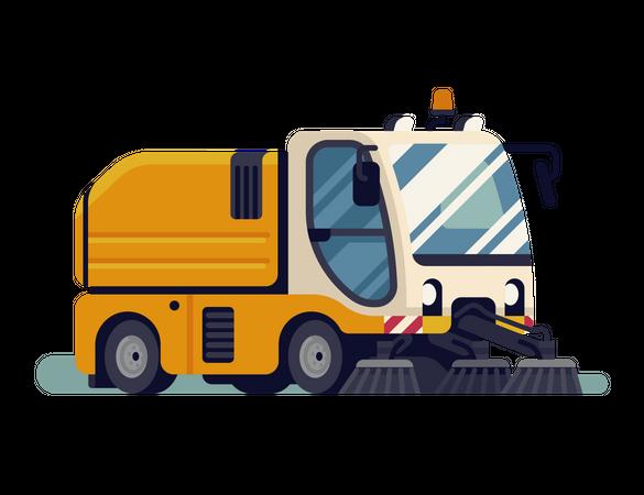 Urban sweeper truck Illustration
