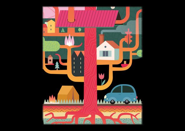 Urban Tree House Illustration