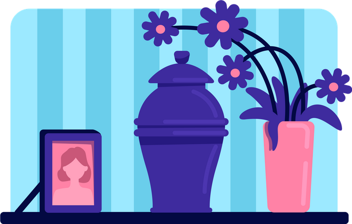 Urn with ashes Illustration