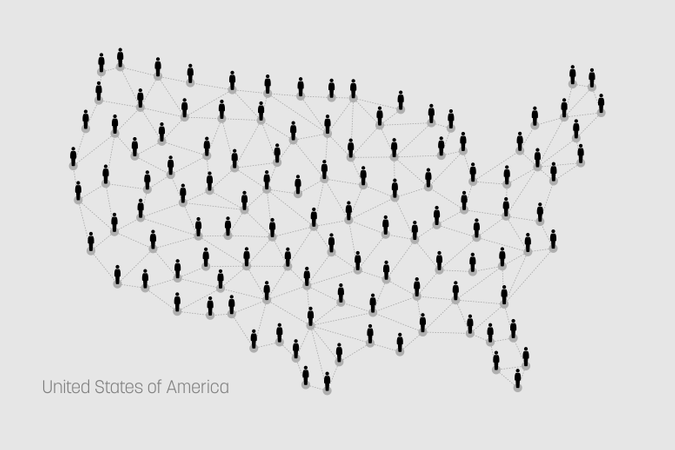 USA Map. United States Map. Vector map depicts people connecting through a large Internet web line and dots forming the shape of United States of America. Illustration