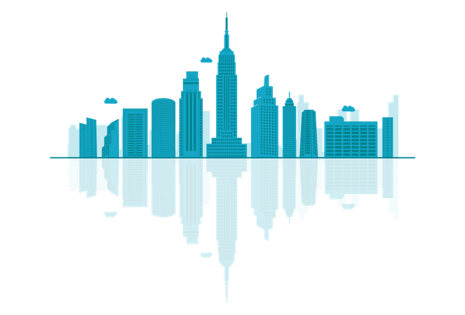 USA Skyline silhouette with reflections Illustration