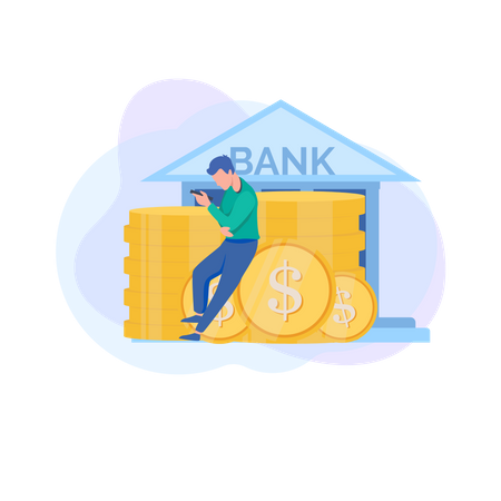 Use mobile banking anytime, anywhere Illustration