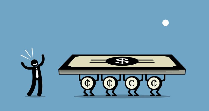 Use money to make more money Illustration