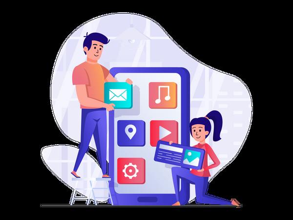 User interface designing Illustration