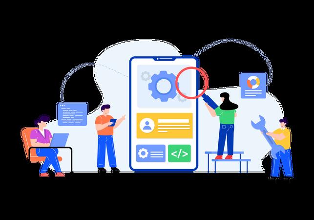 User testing by tester Illustration
