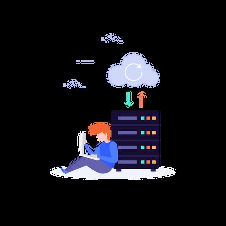 User Transferring data from cloud to server via laptop Illustration