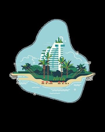 Vacation destinations reopening after global coronavirus pandemic lockdown Illustration