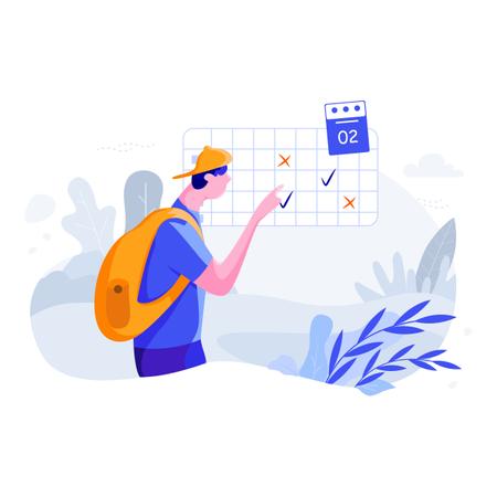 Vacation travel planning using calendar Illustration