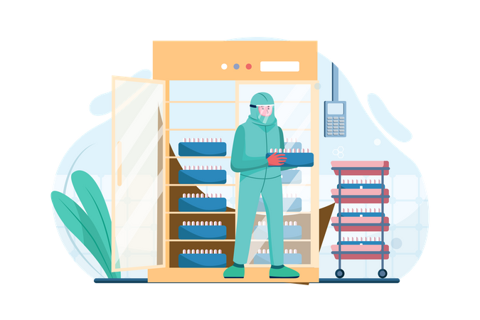Vaccination cold storage Illustration