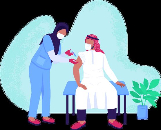 Vaccination process Illustration