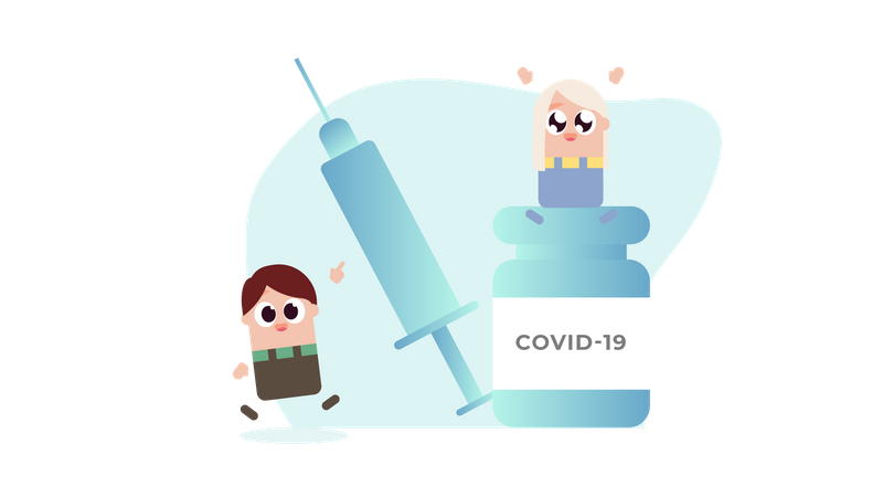 Vaccine Covid 19 for Kids Illustration