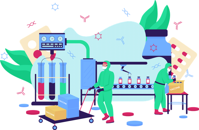 Vaccine production Illustration