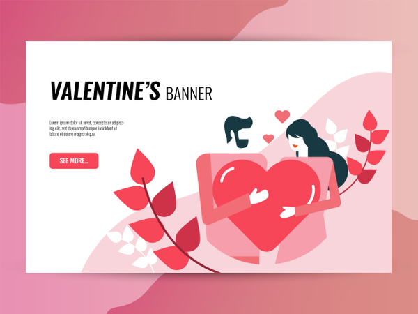 Valentine's day horizontal  banner template Illustration