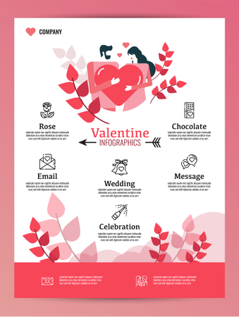 Valentine's day infographics and poster template Illustration